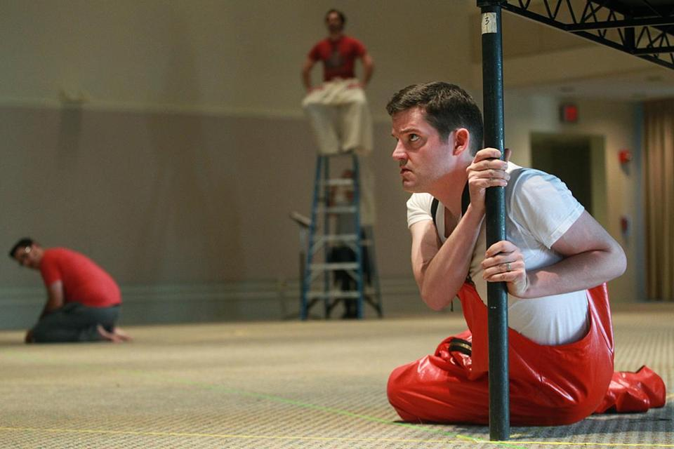 "David McFerrin in rehearsal for Boston Lyric Opera's ""In the Penal Colony."""